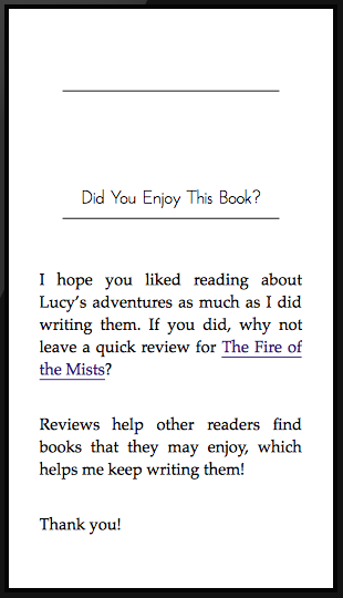 Encourage readers to leave a review by creating a link to your book