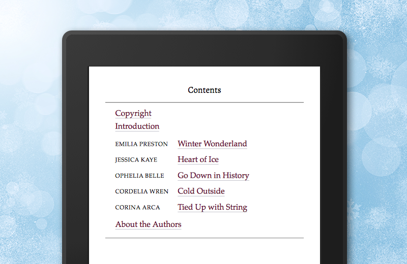 eBooks table of contents with Volume Authors