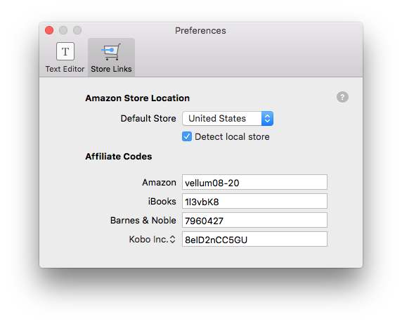 Add affiliate codes in Vellum Preferences