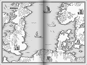Map spanning both pages of a Spread