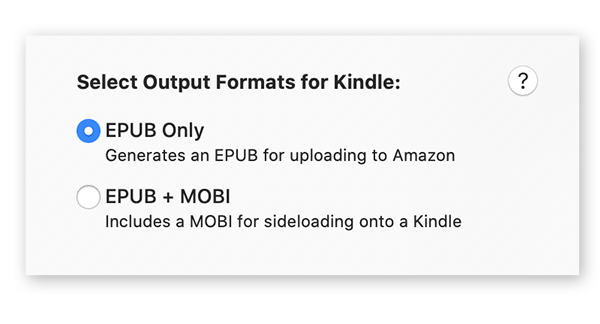 Options for EPUB Only and EPUB + MOBI Kindle generation.